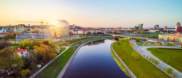 Vilnius aerial. Vilnius with river Neris at sunset royalty free stock photo