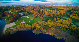 Vilnius aerial, Salote lake forest and TV tower Royalty Free Stock Images