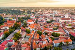 Vilnius aerial. View at sunset old city with red roofs royalty free stock images