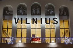 Vilnius Airport Christmas. Vilnius Airport old building facade with christmas decoaration Royalty Free Stock Images