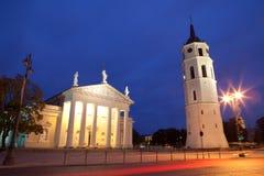 Vilnius alla notte Fotografie Stock