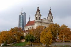 Vilnius archangel church on the board river Neris Royalty Free Stock Image