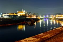 Vilnius archangel church on the board river Neris Royalty Free Stock Photography