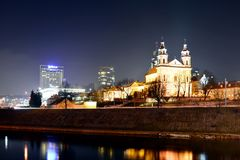 Vilnius archangel church on the board river Neris Stock Photo