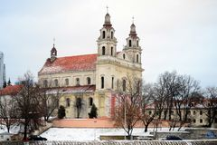 Vilnius archangel church on the board river Neris Stock Image