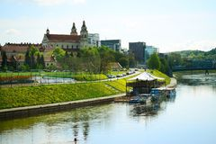 Vilnius archangel church on the board river Neris Stock Images