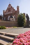 Vilnius Arhitecture. Vilnius churches with monument to Mickiewicz infront Stock Photography