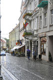Vilnius,august 24-Old town street of Vilnius in Lithuania Royalty Free Stock Photo