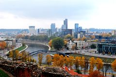 Vilnius autumn panorama from Gediminas castle Royalty Free Stock Image