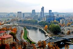 Vilnius autumn panorama from Gediminas castle Stock Photography