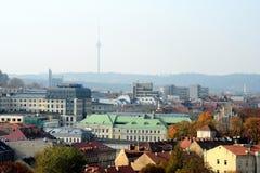 Vilnius autumn panorama from Gediminas castle tower Stock Photo