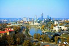Vilnius autumn panorama from Gediminas castle tower Stock Images