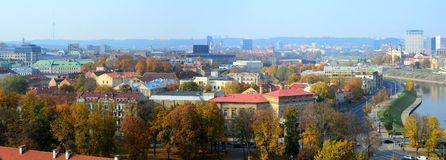 Vilnius autumn panorama from Gediminas castle tower Royalty Free Stock Images