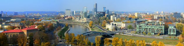 Vilnius autumn panorama from Gediminas castle tower Royalty Free Stock Photo