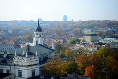 Vilnius autumn panorama from Gediminas castle tower Royalty Free Stock Photography