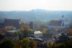Vilnius autumn panorama from Gediminas castle tower Stock Photos