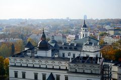Vilnius autumn panorama from Gediminas castle tower Stock Images