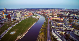 Vilnius bird's view. Vilnius from bird's view. River neris and skyscrapers Stock Photos