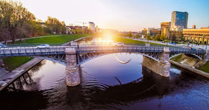 Vilnius bridge through Neris. Aerial, Lithuania, Zverynas Royalty Free Stock Photo