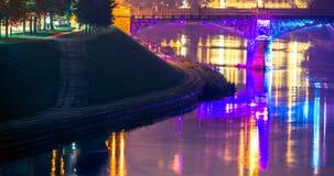 Vilnius bridge at night Royalty Free Stock Images