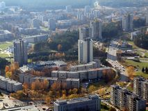 Vilnius - the capital of Lithuania. Aerial view to Lazdynai district from TV tower Royalty Free Stock Photography