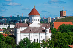 Vilnius. Capital of Lithuania. Gediminas Castle Tower and Cathedral of the Theotokos stock photography