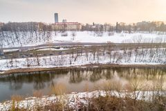 Vilnius landscape in winter, river and park stock images
