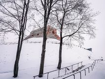Vilnius Castle Cityscape Skyline Lithuania Eastern Europe. View of the castle on a wintery snowy day Stock Photos