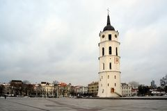 Vilnius Cathedral belfry is the heart of Lithuanian capital Stock Image