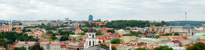 Vilnius Cathedral belfry and old town panorama Royalty Free Stock Images