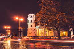 Vilnius Cathedral. At fall time night, long exposure Stock Photo
