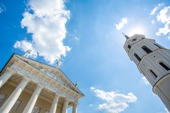 Vilnius Cathedral and its bell tower royalty free stock image