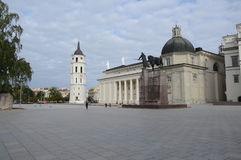 Vilnius Cathedral. VILNIUS, LITHUANIA - OCTOBER 2013: Plaza square view of Vilnius Cathedral in Vilnius, Lithuania in October 2013 royalty free stock photos