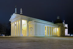Vilnius Cathedral in night, Lithuania Stock Image