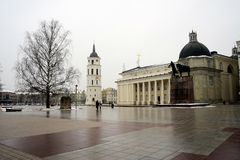 Vilnius cathedral place winter view on February 10 Royalty Free Stock Photos