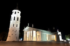 Vilnius Cathedral Square by Night Stock Photo