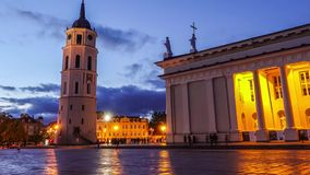 Vilnius Cathedral square, timelapse stock video footage