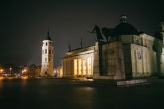 Vilnius Cathedral Square at winter night royalty free stock photos