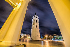 Vilnius Cathedral tower at night Royalty Free Stock Images