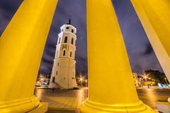 Vilnius Cathedral tower at night Royalty Free Stock Photo