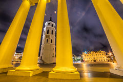 Vilnius Cathedral tower at night Stock Photo