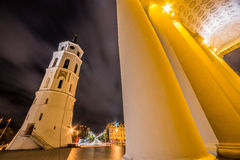 Vilnius Cathedral tower at night Royalty Free Stock Photos