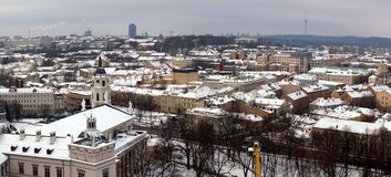 Vilnius center. With cathedral belfry view in the left side Royalty Free Stock Photos