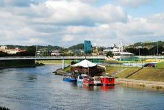 Vilnius centrum miasta z drapaczami chmur na Wrześniu 24, 2014 Zdjęcia Royalty Free