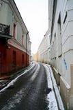 Vilnius centrum miasta zimy ulicy stary widok Zdjęcia Stock