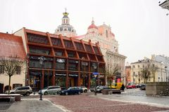 Vilnius centrum miasta zimy ulicy stary widok Fotografia Stock