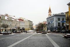 Vilnius centrum miasta zimy urzędu miasta kwadrata stary widok Obrazy Stock