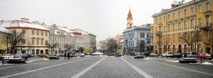 Vilnius centrum miasta zimy urzędu miasta kwadrata stary widok Obraz Royalty Free