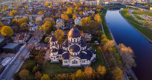 Vilnius church aerial. Lady of the Sign church in Vilnius, Lithuania Royalty Free Stock Photo