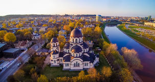 Vilnius church aerial view. Lady of the Sign church in Vilnius, Lithuania royalty free stock photography
